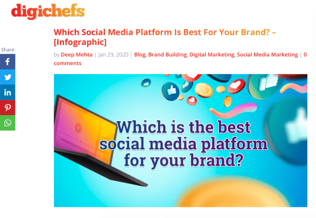 A blog post on digichef's website, which includes the original infographic on social media platforms that you can also find on Pinterest.