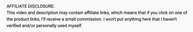 affiliate disclosure example on YouTube