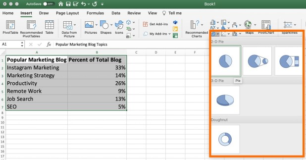 Various pie chart design options, including 2-D and 3-D pies, in excel.