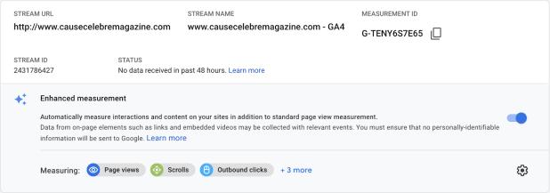 Google Analytics 4 enhanced measurements feature.