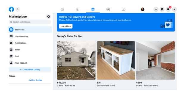 Facebook marketplace for beginners featuring a table, a house, and a studio apartment for sale