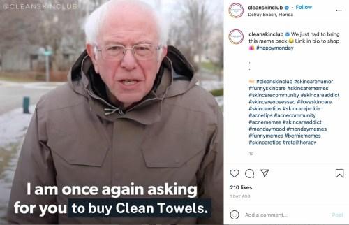 meme marketing example by Clean Skin Club
