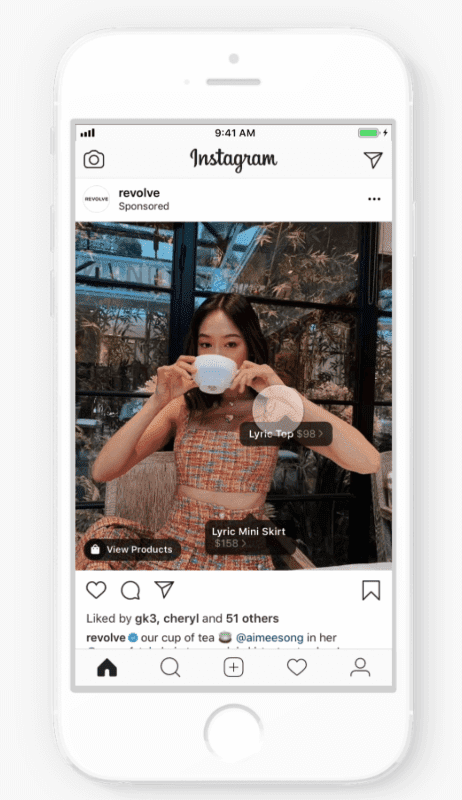 Instagram Shopping Ad example.