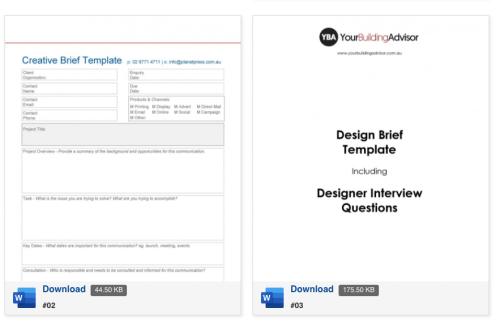 TemplateLab design brief generator