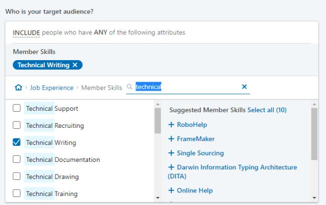 Example of LinkedIn Ads settings