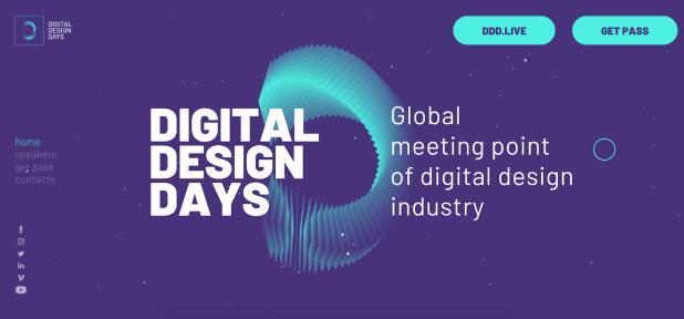 The digital design days conference website homepage design