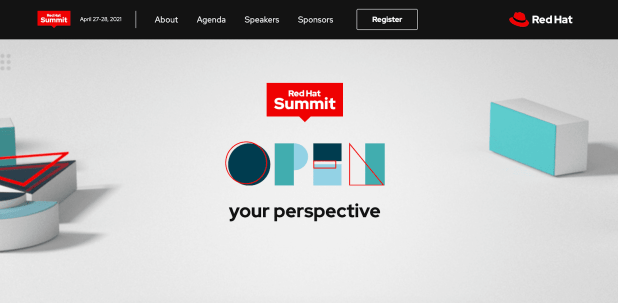 The red hat summit conference website homepage design
