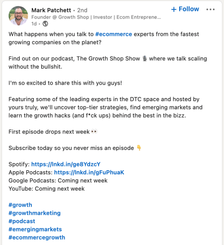 example of a linkedin post using several related marketing hashtags
