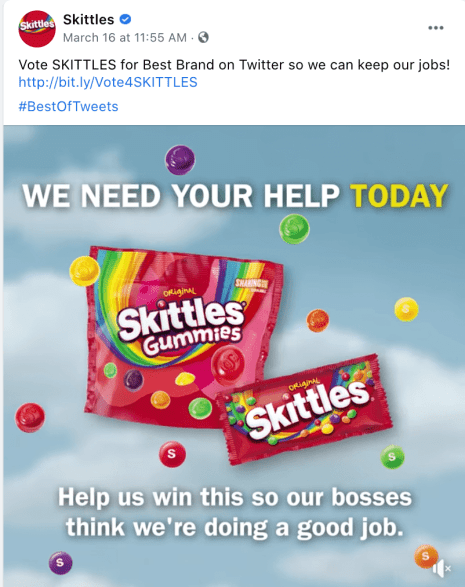 Skittle's funny brand voice example, where they've tweeted