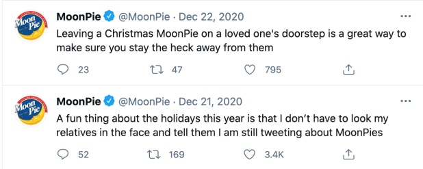 MoonPie tweets, highlighting the brand's funny brand voice.