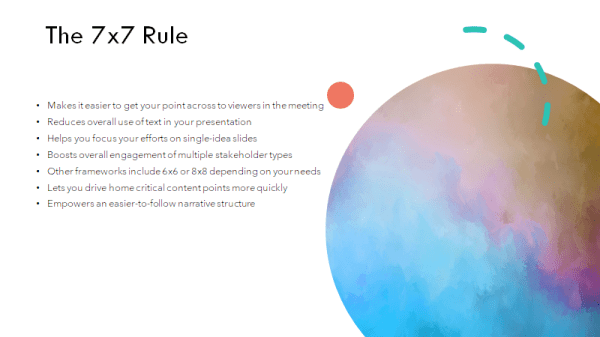 example of the 7x7-rule in powerpoint that still needs some improvement