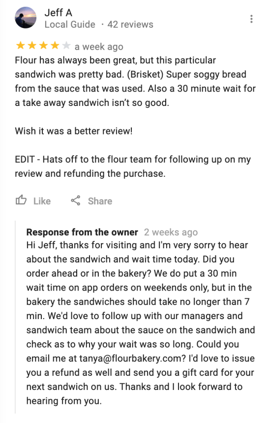 business replying to google maps customer reviews example