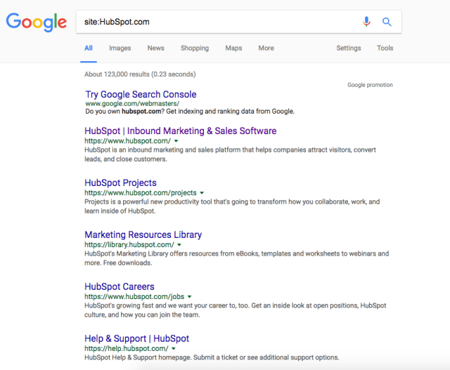 Google site search for HubSpot.com using the format site:HubSpot.com