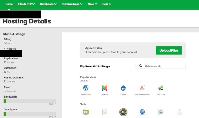 GoDaddy account for WordPress website