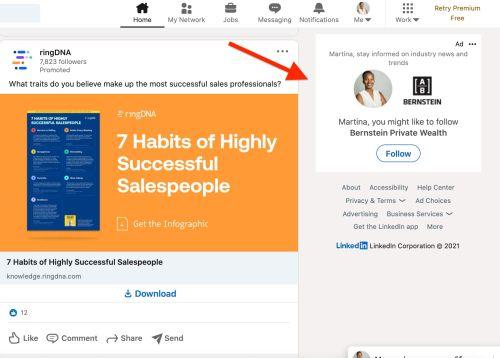 LinkedIn Dynamic Ad Example