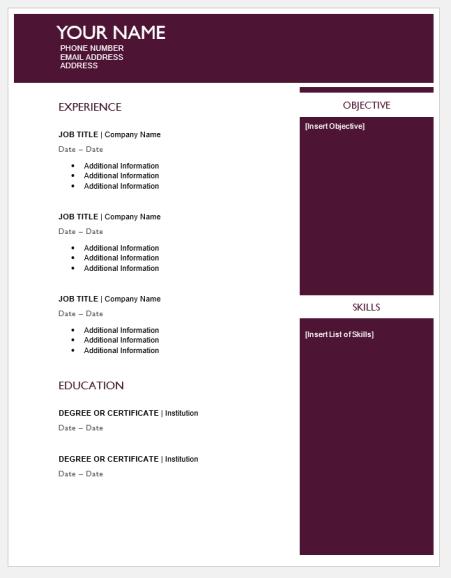 Maroon Sidebar Resume