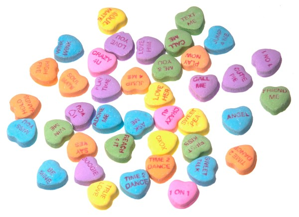 Necco Candy SweetHearts, the first ever in Valentine's Day history