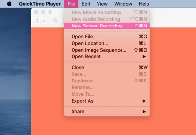How to record a webinar quick time player in macbook step four select new screen recording