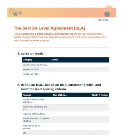 Service-Level Agreement Example: Hivehouse Digital's Marketing & Sales SLA Template