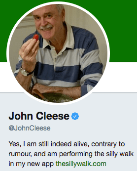 Funny twitter bio from @JohnCleese