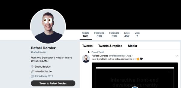 Twitter profile of Raf Derolez