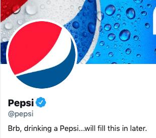 Funny twitter bio from @Pepsi