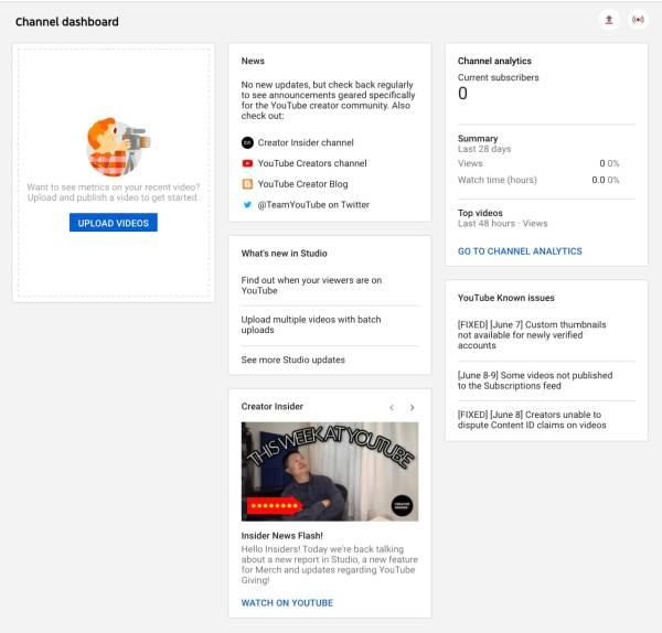 YouTUbe Channel Daashboard