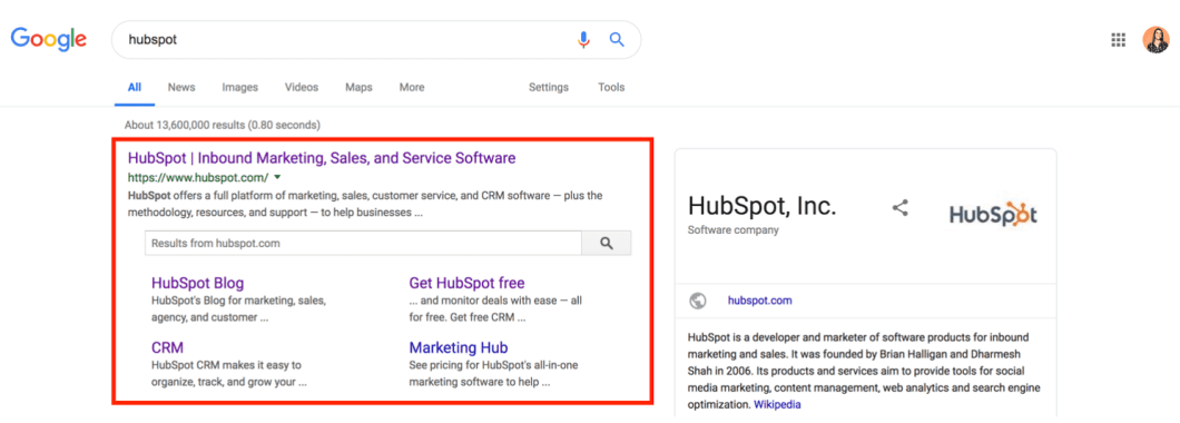 searchbox for hubspot on search engine