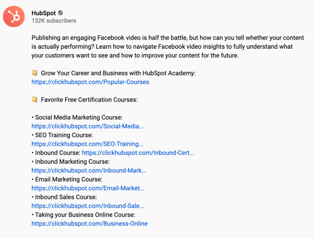 CTAs included in the description of a HubSpot YouTube video.