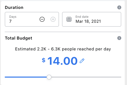 The duration and budget section of an ad when you're filling out the ad form on Facebook