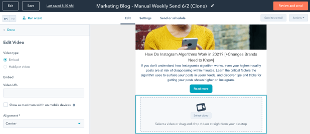 Selecting a video to include in HubSpot email