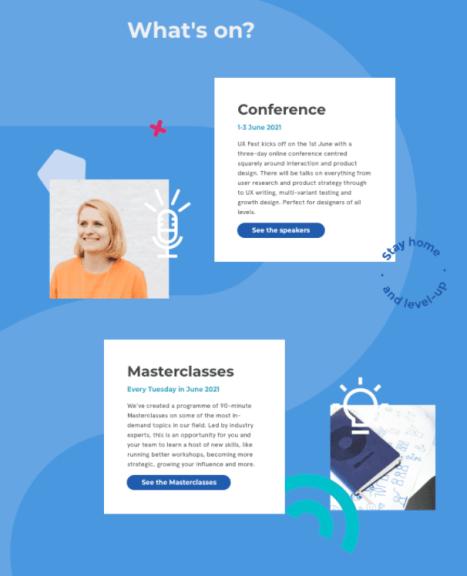 The UX Fest conference website homepage design