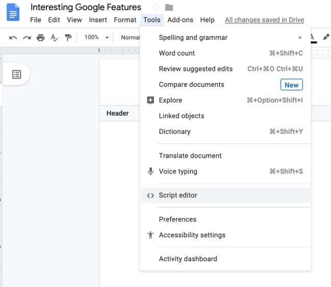 Where to Find Google Script Editor