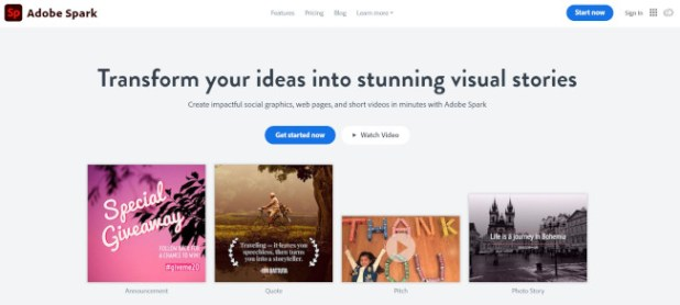 adobe-spark design tool for photo editing