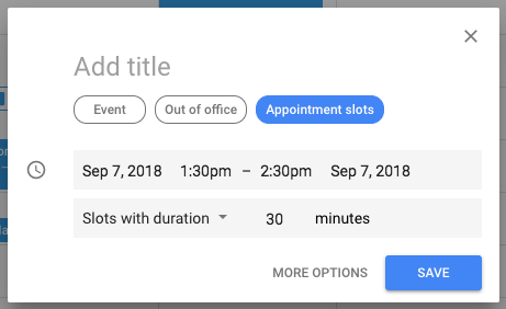 Blue button to enable Appointment slots feature in Google Calendar event