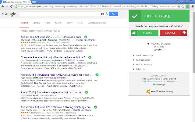 Avast Online Security Chrome extension