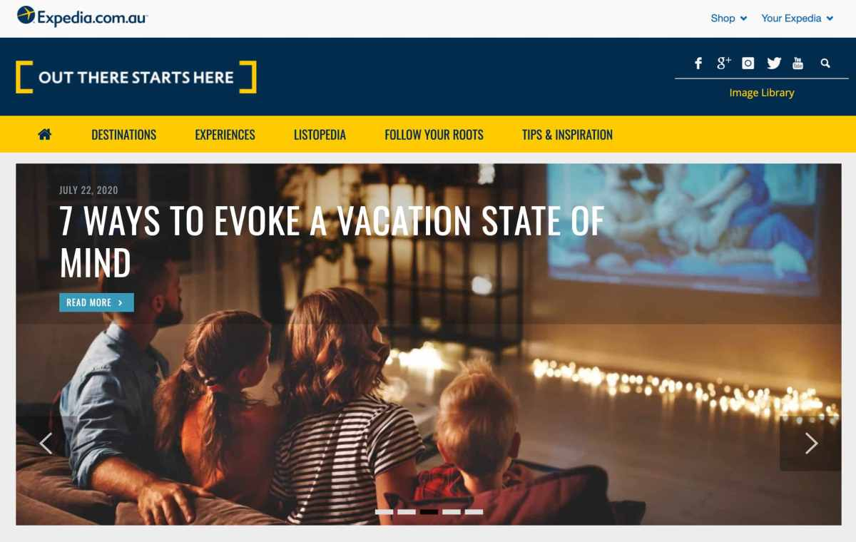 expedia blog front page content marketing example