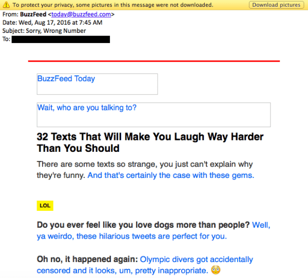 BuzzFeed email without images.