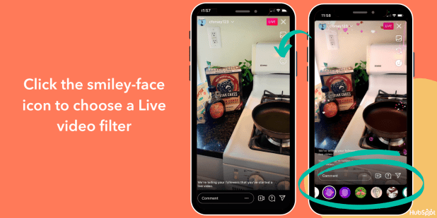 change the filter on Instagram Live video with the smiley-face icon