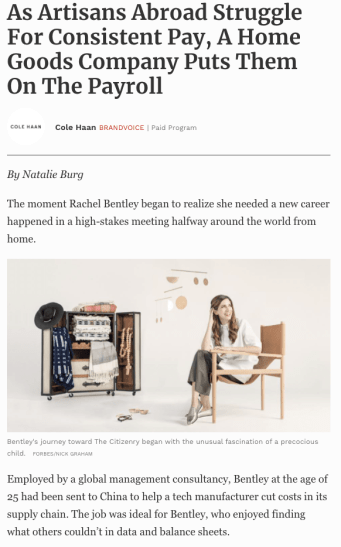 cole haan blog post on home goods store