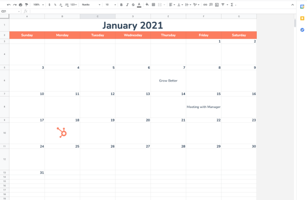 Completed Google Sheets calendar