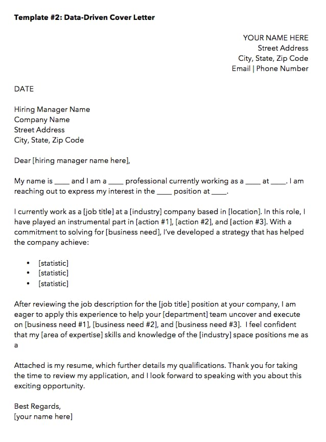 template for job application cover letter