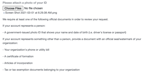 the section of the form that asks you to attach a document verifying your business