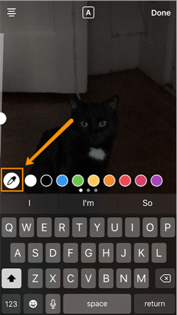 Dropper icon to change custom color of Instagram Story text