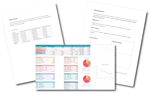 ecommerce planning kit with tables, pie charts, and line graphs