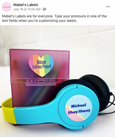 Facebook post from Mabel's Labels FB Page