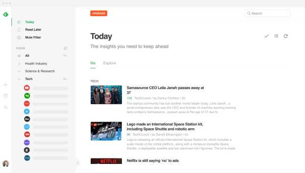 feedly news content aggregator sample homepage