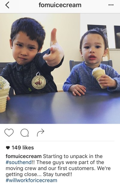 Instagram caption with two hashtags by FOMU Ice Cream