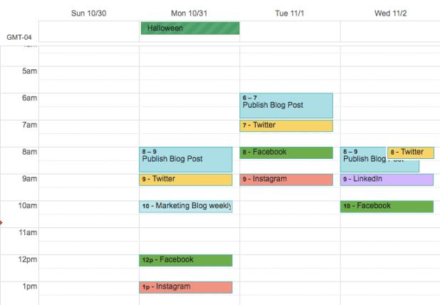 Social media calendar organized on Google Calendar