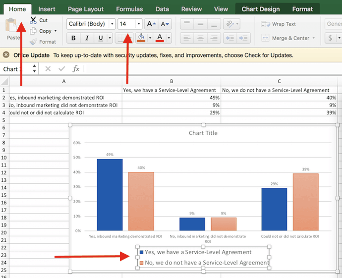 Increased size of legend labels in Excel chart